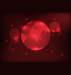 earth and magnifier with red background vector image