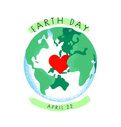 earth day card green planet with love heart vector image