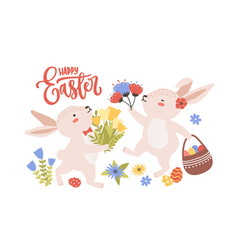 Easter greeting card template with pair cute vector