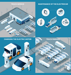 Electric vehicles isometric design concept vector