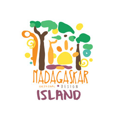 exotic summer vacation travel to madagascar logo vector image