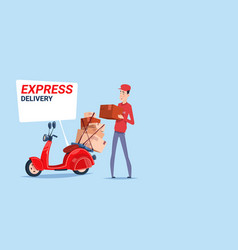 Express delivery asian man deliver boxes vector