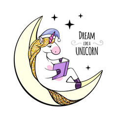 fantasy unicorn reading book on the moon vector image