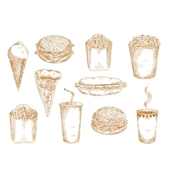 Fast food dishes with drinks and desserts sketch vector image vector image