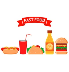 Fast food icons set Junk food vector