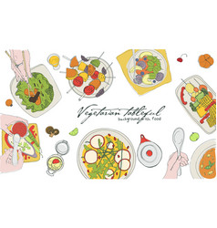 Festive vegetarian tableful laid table holidays vector