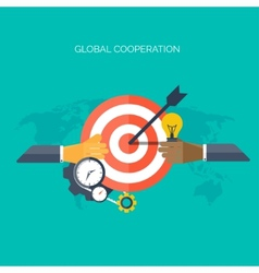 Flat hands Global cooperation concept background vector