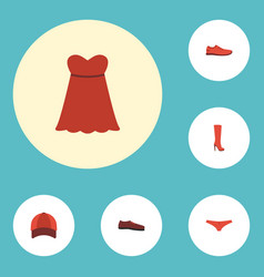 flat icons evening dress hat man footwear and vector image