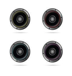 four speakers with different colors vector image vector image