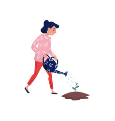 girl watering seedling with watering can eco vector image
