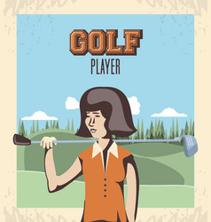 golf player woman in the course vector image