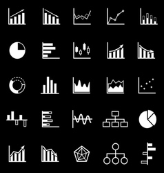 Graph icons on black background vector image