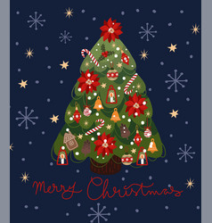 greeting card with a decorated christmas tree vector image