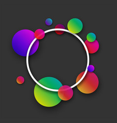 Grey round background with colour circles vector