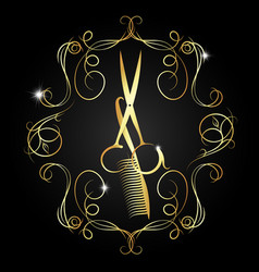 Hairdressing scissors and a comb of gold color vector