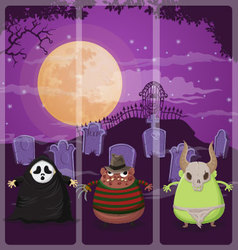 Halloween and background set 4 vector image