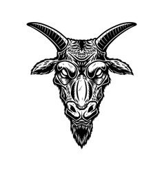 head goat in vintage monochrome style design vector image