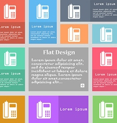 Home phone icon sign Set of multicolored buttons vector