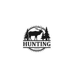 Hunting deer adventure - outdoor logo design vector