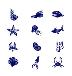 icon set of elements of marine life vector image