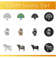 Indian culture icons set vector