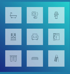 interior icons line style set with socket vector image
