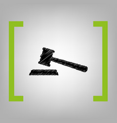 justice hammer sign black scribble icon vector image
