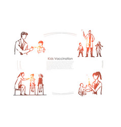 kids vaccination - doctors making veccination vector image