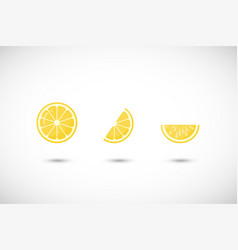 lemon fruit flat icon set vector image