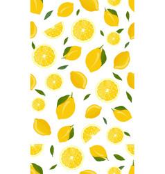 lemon fruits and slice seamless pattern vector image