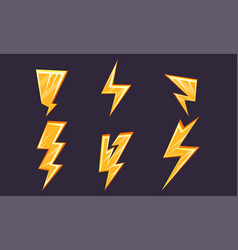 lightning bolt set bright yellow thunderbolts vector image