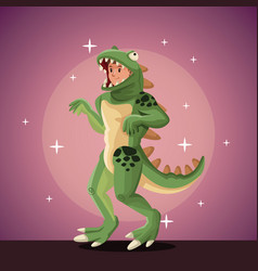 Lizard man costume party in spotlight background vector
