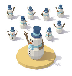 low poly christmas snowman vector image