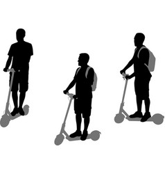 man riding electric scooter silhouettes set vector image