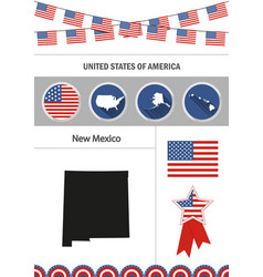 Map of new mexico set of flat design icons vector