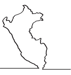 map of peru continous line vector image