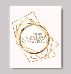 married invitation with golden frame vector image