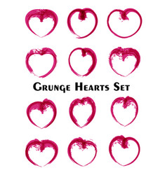 modern grunge hearts set watercolor line art vector image
