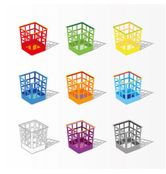 multicolor garbage can for paper plastic basket vector image