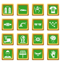 New technologies icons set green vector