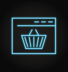 Online shopping icon in neon line style vector