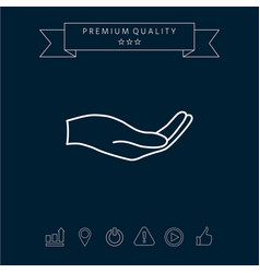 open hand - line icon vector image