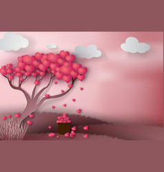 paper art of happy valentine day with tree heart vector image
