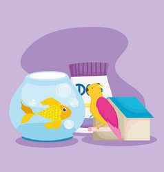pet shop fish bird house and package food animal vector image