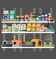 Pet shop or store showcase with animal food vector