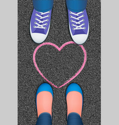 pink heart pictured on asphalt vector image