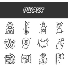 Piracy flat icons set vector
