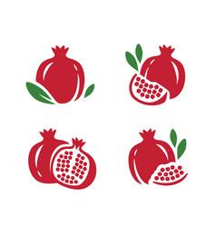 pomegranate seeds garnet icons set fruit symbol vector image