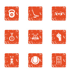 Practice icons set grunge style vector