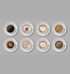 realistic coffee cup top view milk creams in vector image